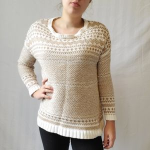 Old Navy Gold and White Fair Isle Sweater Medium